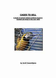 Caged to sell report frontcover, with photo of macaw